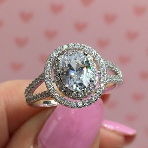 14k white gold oval wedding engagement ring 2 ct
